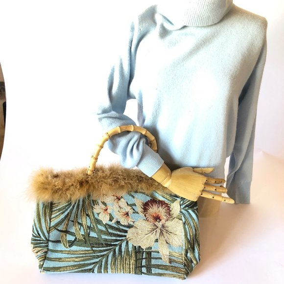 Handbags - Orchid pattern Bag with Bamboo and Feathers NWOT